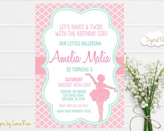 Ballerina Birthday Invitation, Ballet Birthday Invitation, Ballerina Invitation, Ballerina Invite, Ballerina Party, Ballerina, Digital