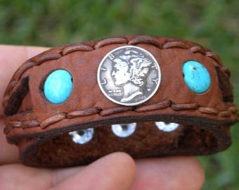 Cuff Bison leather  customize to wrist  size cuff Bracelet silver Vintage Mercury dime coin  cowboy cowgirl  cool signed peace bracelet