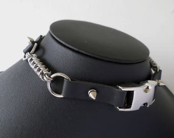 Post-Apocalyptic Chainmail and Studded PU Leather Buckle Choker - Cyberpunk Apocalypse Collar