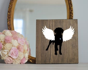 Labrador Retriever Angel Wing Silhouette, Remembrance Sign, Dog Memorial, Loss of Dog, Lab Dog, Lab Dog Loss, Lab Portrait
