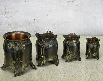 Set of 4 small planters flower pots ornate brass style copper pots