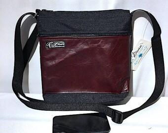 Small waterproof bag with a leather pocket for men, tote bag, crossbody bag, purse, hisper, brown bag, unisexe bag