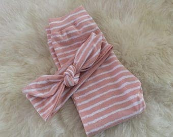 Baby set of clothes: harem-trousers + Leggings or hair band | Pink white stripe