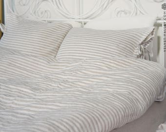 Linen off white taupe duvet cover and pillow sham - Striped linen bed set-Off white taupe beige queen/king size linen bed set
