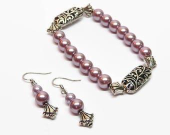 Lilac Pearl Bracelet Set,  Lavender Pearl Bracelet, Lilac Bridesmaid Bracelet, Lavender Prom Jewelry, Pearl Wedding Jewelry