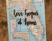 """Vintage Florida map quote """"love begins at home"""" Map decor. Travel quote map decor"""
