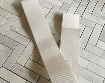 "White Ribbed Elastic Remnants 2"" Wide"