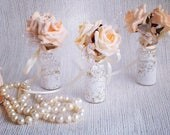 Peach rose minibottles wedding keepsakes