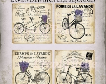 4x4 inch French Vintage Lavender Bicycle Squares Instant Digital Download Printable Coaster Tile Transfer Image 0857