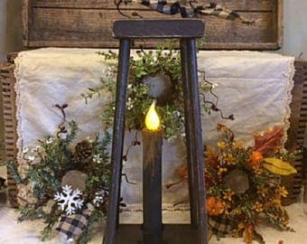 Primitive Handmade Wooden Three Seasons Lantern With Timer Candle Plus Autumn, Winter And All Season Candle Rings Beautiful Seasonal Display