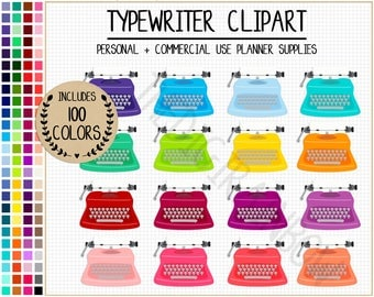 SALE 100 typewriter clipart typewriter planner stickers writer graphics typewriter pattern rainbow clipart pastel bright dark neutral ECLP