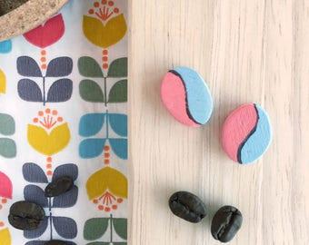 Hand painted wood earrings Mocha coffee bean Tazzulella blue and orange-PREORDER