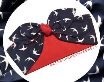 Swooping Swallow Birds Rockabilly Vintage 1940's 1950's Pin Up Head Scarf Hair Tie Headscarf Hair Bow by Miss Cherry Makewell