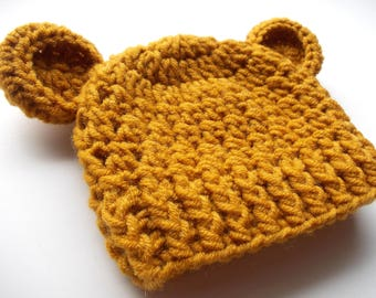 Wool bear hat Mustard yellow hat Baby bear hat Baby animal hat Wool newborn hat Baby winter hat Baby hat with ears Baby boy bear hat