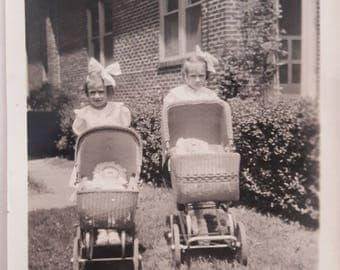 Young Girls with Dolls in Carriages Big Hair Bows 1940s Vintage Vernacular B&W Found Photo