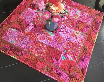BOHEMIAN TABLE TOPPER Kaffe Fassett Fabric, Hand Quilted, Quilt Top, Boho  Chic,