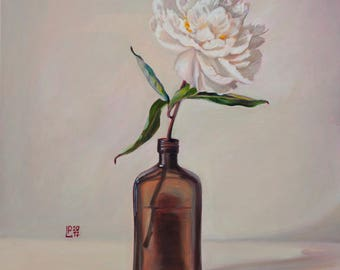 Oil Painting White Flower Minimalistic Floral Still Life