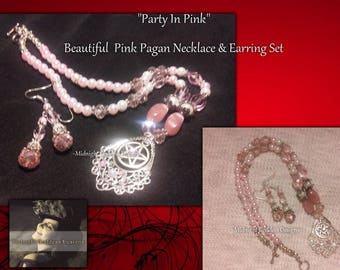 Beautiful Pink Pagan Crystal & Pearl Beaded Pentacle Necklace and Earring Set
