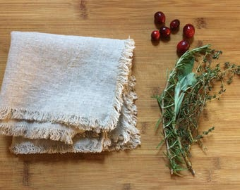 Natural Linen Fluffy Napkins, eco friendly linen napkins, gift for her gift for him, gift for mom, christmas gift for teacher