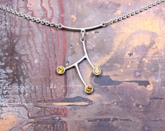 Sterling Silver Necklace with Faceted Citrine Gems