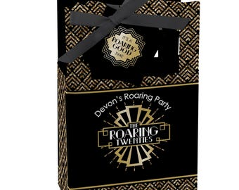 Roaring 20's - Favor Boxes - Personalized 1920s Art Deco Jazz Party Supplies - Twenties Party Treat Boxes - Great Gatsby Party Favors -12 ct