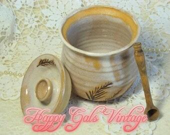 Ceramic Honey Pot / Handmade Ceramic Honey Pot / Brown Honey Pot / Natural Honey Pot / One of a Kind Ceramic Honey Pot / Wedding Gift