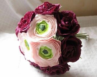 Paper Flower Wedding Bouqeut Bordeaux Roses Bridal Bouquet Pink Ranunculus