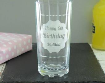 Childrens Personalised Birthday Highball Glass