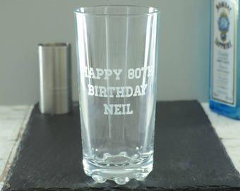 Happy 80th Birthday Personalised Highball Glass