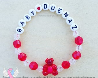 Teddy Bear - Personalized Handmade Bracelet - RED