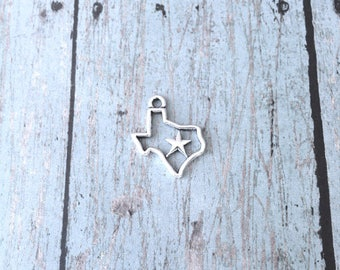 4 Texas charms (2 sided) silver tone - state of Texas charms, silver Texas pendants, state charms, Lone star state pendants, RR9