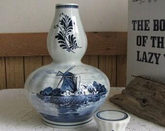 Blue Delft Musical Liquor Jar with Stopper Amsterdam Holland Windmills Old Bottles