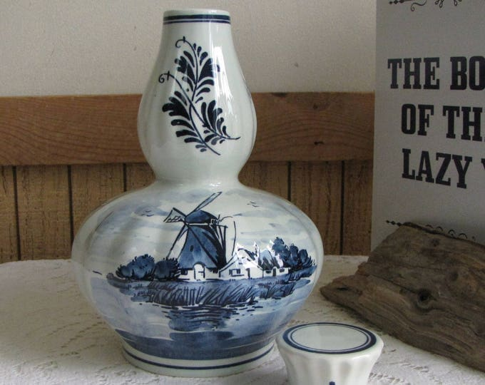 Blue Delft Musical Liquor Jar with Stopper Amsterdam Holland Windmills Old Bottles
