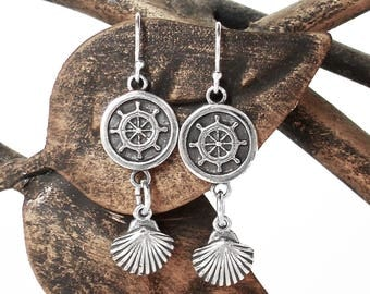 Nautical Earrings in Sterling Silver - Captains Wheel and Seashell