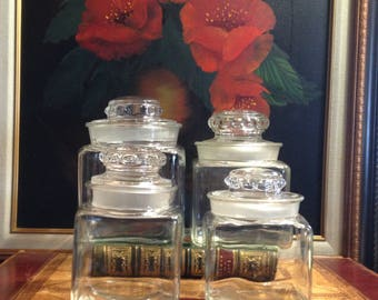 4 Graduated Kitchen Storage Jars - Clear Glass - #2