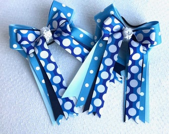 Horse show bows/beautiful blue equestrian clothing/Ready2Mail in elastic loops