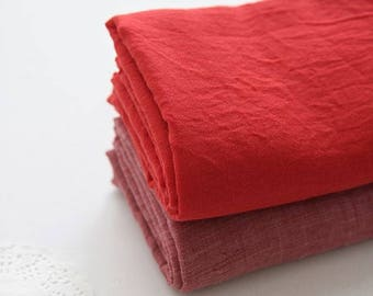 Single Washed Cotton Gauze Fabric by Yard - Red, Tone Down Red Cotton Gauze