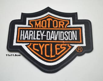harley davidson fusible 11.8x11cm coat or for other black and white orange