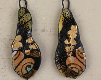 RESERVED FOR Ca.Handmade unusual ceramic art charms earrings connectors dangles glaze fired in decals gold