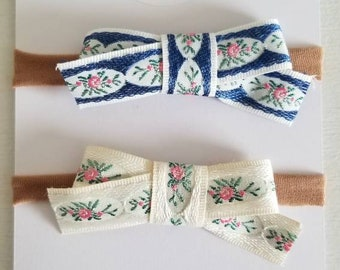 Marie Antoinette duo floral bows. One size fits all headbands or hair clips