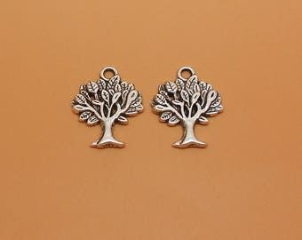 2 charms antique silver tree, size 22 x 27 mm