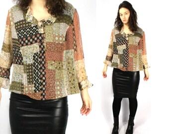 Silk blouse, Womens blouse, Vintage SILK blouse, Ruffle sleeves top, Bohemian top, Floral shirt, Brown silk blouse / XL Large Plus size