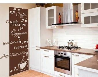 20% OFF Summer Sale Coffee Types kitchen wall decal, sticker, mural, vinyl wall art