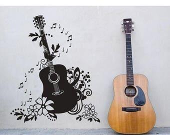 20% OFF Summer Sale Guitar music wall decal, sticker, mural, vinyl wall art