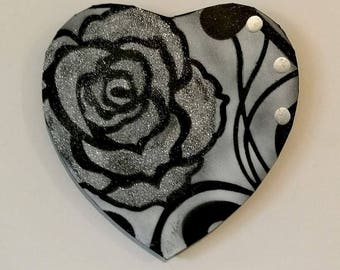 PAINTING abstract modern heart black Valentine