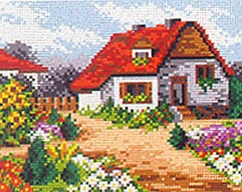 Needlepoint tapestry, Court yard with flowers 18 x 24 cm, REF 2126