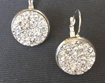 Silver drusy cabochon earrings