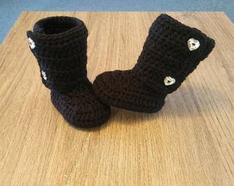 baby boots, crochet baby boots, crochet baby shoes, black boots, winter boots, christmas boots, gift for baby, baby shower, stocking stuffer
