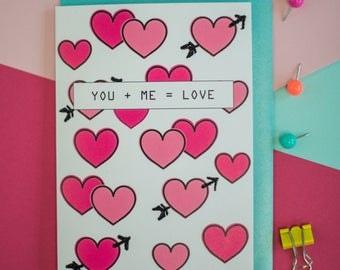 You + me= Love greeting card