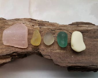 PASTEL SEAHAM JQ Nuggets ~ English Sea Glass ~ Seaglass ~ Pink Yellow Teal Champagne ~  Milk Glass ~ Jewellery Jewelry